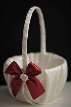 Burgundy Flower Girl Basket Burgundy Wedding by AlexEmotions