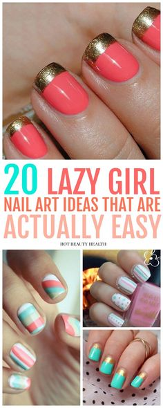 Here's a curated list of 20 simple nail art designs for beginners. These cute diy nail ideas are so easy that any nail newbie can do them! Click pin for step by step tutorials! #naildesigns