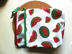zippered pouch/ watermelon pouch by TheFormaClay on Etsy