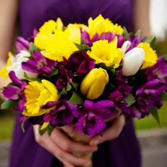 This is pretty. The purple matches the dress but still stands out because of the yellow. Would want orange though,