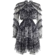 ZIMMERMANN Divinity Ruffle Dress featuring polyvore women's fashion clothing dresses zimmermann flutter sleeve dress sheer dress blue summer dress neck ties sheer sleeve dress