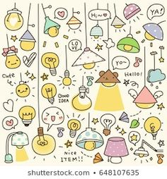 Set of Cute Vintage Bulb Doodle Cute Food Drawings, Cute Kawaii Drawings, Doodle Drawings, Doodle Art, Kawaii Stickers, Cute Stickers, Banner Doodle, Kawaii Illustration, Kawaii Doodles