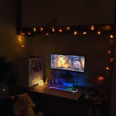 My happy palace ❤️🏠 ~ cute PC setup Gaming Desk Setup, Computer Setup, Pc Setup, Cute Bedroom Decor, Bedroom Setup, Video Game Rooms, Game Room Design, Minimalist Room, Girl Bedroom Designs