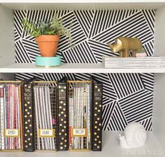 Fabric Backed Bookcase-53/good idea for backs of any cabinets.  easy to install and change out.  no painting.