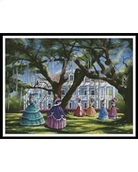 This counted cross stitch pattern of a Wartime Gathering was designed from the beautiful artwork of Geno Peoples. Original image licensed through Hadley House Licensing. Only full cross stitches are used in this pattern. Cross Stitches, Counted Cross Stitch Patterns, Cross Stitch Charts, Pistachio Green, Pewter Grey, Lavender Blue, Gone With The Wind, Hadley, Scrappy Quilts