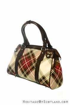 Click on the photo to go to our online shop.    Ladies Vinyl Tartan Handbag, Stewart Dress Purple    Product ID: 18148