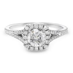 Justice Wedding Collection Cushion Diamond Halo Engagement Ring #justicejewelers