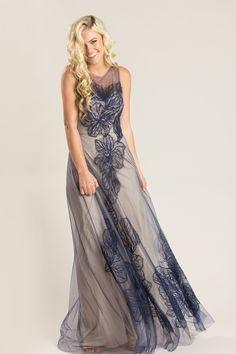 5583f4dc9b0 Kacey Navy Lace Tulle Maxi Dress