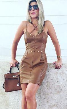 Brown leather minidress