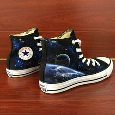 Hand painted shoes are special because its uniqueness They are not only wearable shoes but also art work They represent your personality and your special style It is a statement Galaxy Converse, Galaxy Shoes, Cool Converse, Converse Sneakers, Canvas Sneakers, Sneakers Women, Converse Design, Custom Converse, Custom Shoes