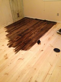 The lambs wool applicator was purchased at Home Depot. You use it to apply the stain and polyurethane because it leaves the least residue on the floors.