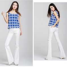 84.00$  Buy now - http://alil17.worldwells.pw/go.php?t=32654394448 - 2016 white brief fashion jeans boot cut trousers slim fit lady's pant tailor cut free shipping
