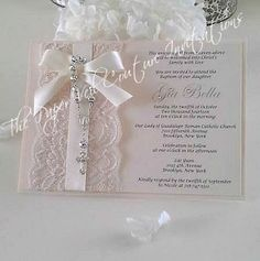 Vintage Lace Rosary invitation