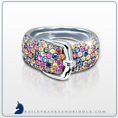 Multi sapphire buckle ring in sterling silver