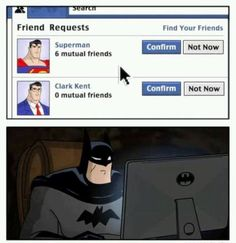 supergirl,batman-😎 Would you be fooled by Superman's secret identity?---mtgeekmore rockmenerdall_things_dc_and_marvel-----superman su Kingdom Hearts 3, Marvel Girls, Deathstroke, Social Media Humor, Nananana Batman, Find Your Friends, Dc Memes, Logic Memes, Batman And Superman