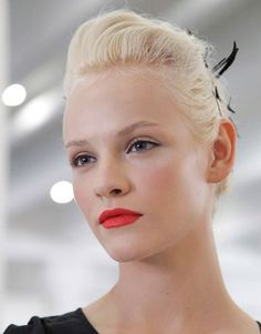 Love this effortless-looking make up at Jason Wu, but with a pop of red lips. Such the 'It' color right now.