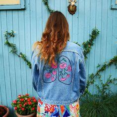 BREATH vintage hand painted denim jacket by SissettaSinclair