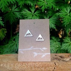 Mountain Stud Earrings by KileyGranberg on Etsy Copper Jewelry, Jewelry Art, Jewelry Accessories, Jewellery, Canadian Art, Unique Art, Recycling, Mountain, Gift Wrapping