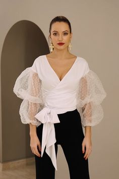 White Wrap Top CORSICA - Tulle Sleeves Top - White Top V-neck - Wrap-over Blouse - Polka dot Tulle - Elegant Blouse - Handmade by TTBFASHION inspo videos elegant White tulle sleeves top, wedding guest outfit, wrap blouse, elegant blouse. Moda Disney, White Wrap Top, Wrap Blouse, Fashion Sewing, Elegant Outfit, African Fashion, Blouses For Women, Designer Dresses, Evening Dresses