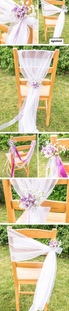 Chair decoration for the wedding: Just do it yourself! A creative chair decoration for the wedding. Without chair covers you can with … - Wedding Guest List, Diy Wedding, Dream Wedding, Wedding Day, Wedding Locations, Wedding Venues, Christmas Wedding Favors, Xmas Theme, Ceremony Dresses