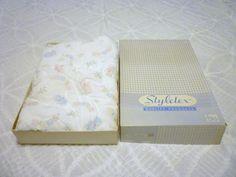 Vintage Styletex Soft Nylon Baby Crib Coverlet Blanket Bunnies Bears Never Used #Styletex
