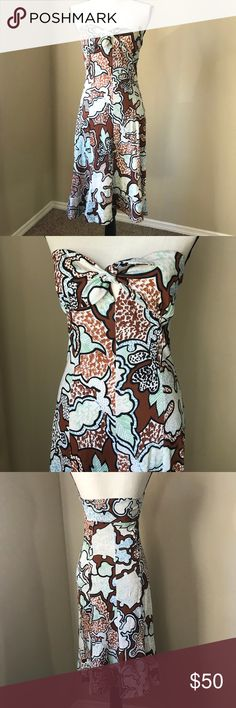 """DVF strapless tie dress Cute Diane Von Furstenberg """"Ava"""" strapless/tube top dress. Has a tie in front so can adjust fit. 100% silk, ruffle at the bottom. The pattern has black, brown, sky blue and mint green in it. Diane Von Furstenberg Dresses Midi"""