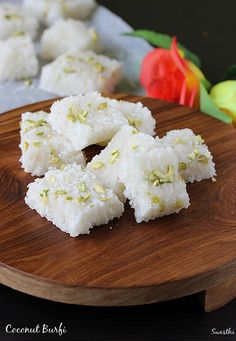 Coconut burfi recipe - One of the most commonly made barfi recipe during festivals like holi, diwali, navratri. It just takes less than 15 mins to make. Coconut Sweet Recipes, Coconut Barfi Recipe, Coconut Burfi, Burfi Recipe Condensed Milk, Dessert Recipes For Kids, Indian Dessert Recipes, Indian Sweets, Sweets Recipes, Diwali Recipes