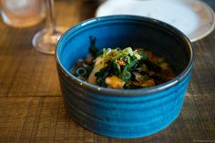 Ahi Poke. Kingfish, soya, sesame oil, jalapeno, macadamia nuts and tobanjan mayo. Tobanjan is a spicy bean paste.