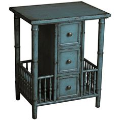 Distressed Teal Accent Table - Polyvore