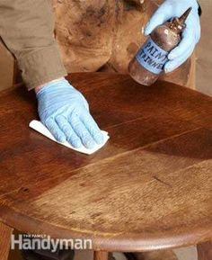 Wipe on mineral spirits. Clean with ivory dish soap. Use gel stain. No need to strip the wood. ~ Learn how to refinish furniture faster and easier by avoiding stripping. A seasoned pro tells you how to clean, repair and restore old worn finishes without messy chemical strippers.
