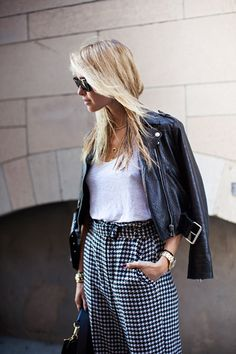 649346cc65 high waisted houndstooth pants and leather jacket