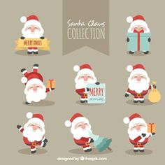 Fantastic character pack of smiling santa claus Free Vector illustration Illustration Noel, Winter Illustration, Free Vector Illustration, Christmas Illustration, Christmas Greeting Cards, Christmas Greetings, Vector Christmas, Photos Hd, Christmas Drawing