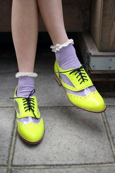 If I dare to try a shoe refashion, it might look like this, but not in neon. THE WHITEPEPPER shoes