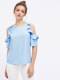 Women Tops and Blouses Half Sleeve Flounce Open Shoulder Top Blue Cold Shoulder Casual Blouse Mode Top, Modelos Plus Size, Vetement Fashion, Cool Summer Outfits, Pulls, Blouse Designs, Blouses For Women, Casual Outfits, Casual Wear