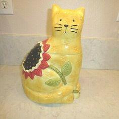 Cat Cookie Jar, Cookie Jars, Teddy Bear Cookies, Paint Cookies, Yellow Cat, Halloween Cookies, Kitchen Supplies, Disney Halloween, Tinkerbell