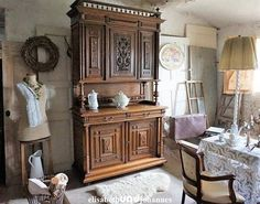 Large antique French carved kitchen buffet wine cupboard