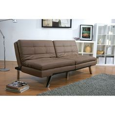 This futon sofa bed by Memphis brings warmth and style to any room. Double cushions and solid wood construction provide ample comfort and functionality, while the European click-clack mechanism makes the sofa bed easy to assemble and use.