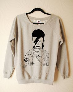 Womens David Bowie hand printed sweater by by emilythepemily, £30.00