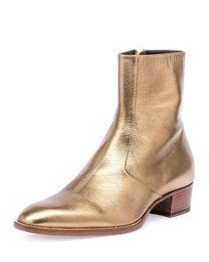 [Saint Laurent, Wyatt 40mm Mens Metallic Leather Ankle Boot, Gold]
