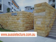 Aussietecture natural stone supplier has a unique range natural stone products for walling, flooring & landscaping. Sandstone Cladding, Natural Stone Cladding, Sandstone Paving, Natural Stone Wall, Natural Stones, Exterior Design, Interior And Exterior, Landscape Design, Garden Design