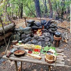 Fire pit idea, maybe incorporate into the retaining wall - Bushcraft Camping & Nature Travel Destinations Bushcraft Camping, Camping Survival, Survival Food, Camping And Hiking, Outdoor Survival, Survival Tips, Survival Skills, Camping Hacks, Camping Gear