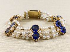 Vintage Antique Designer Lucien Piccard Fresh Water White 4mm Pearl & Blue Synthetic Sapphire Multi Strand Bracelet 27.7 grams FREE SHIPPING $1,399.00