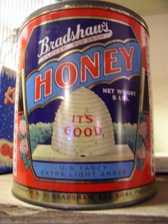 old honey tin