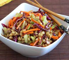 Asian wheat berry salad recipe healthy vegetables teriyaki chinese