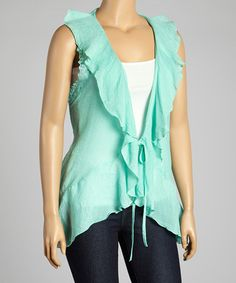 Look what I found on #zulily! Mint Lace & Ruffle Vest - Plus by Simply Irresistible #zulilyfinds