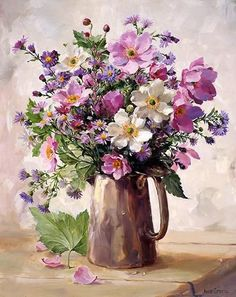 Japanese Anemones in a Silver Jug - Blank Card by Anne Cotterill: