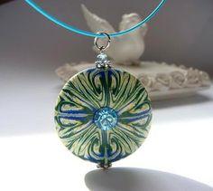Turquoise  Green  Focal Bead  Pendant  Aquamarine Rhinestone Polymer clay Handmade Jewelry