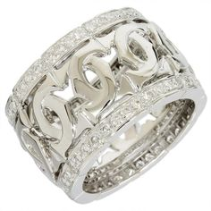 Cartier 18K White Gold, Diamond Intralase Fulda Ring US Size 5.75 With Box/Cert