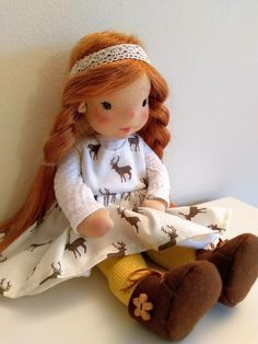 Ayla 11 inches Waldorf inspired doll natural fiber art doll | Etsy Ooak Dolls, Art Dolls, Cotton Tights, Felt Shoes, Gauze Dress, Waldorf Dolls, Fiber Art, Doll Clothes, Pure Products