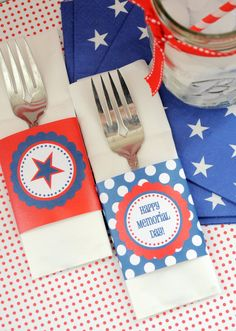 The Sweet Peach Paperie: FREE Printable Napkin Wraps: Happy Memorial Day Weekend!